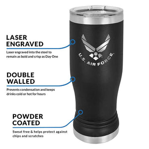 US Air Force 20 oz Black Double Wall Vacuum Insulated Stainless Steel Air Force Tumbler Travel Mug