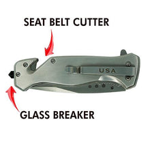 Silver US Flag Tactical Rescue Knife, Seat Belt Cutter, Glass Breaker