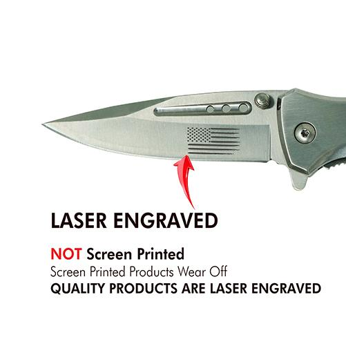 Silver Laser Engraved US Flag Tactical Rescue Knife