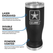 US Army 20 oz Black Double Wall Vacuum Insulated Stainless Steel Army Tumbler Travel Mug