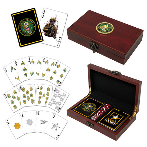 Army Playing Cards with Dice USA Gift Set
