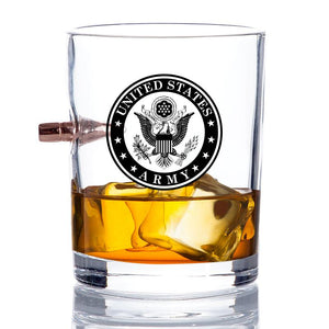 US Army Bullet Whiskey Glass – .308 Bullet - Army Rocks Glass - Soldier Gifts