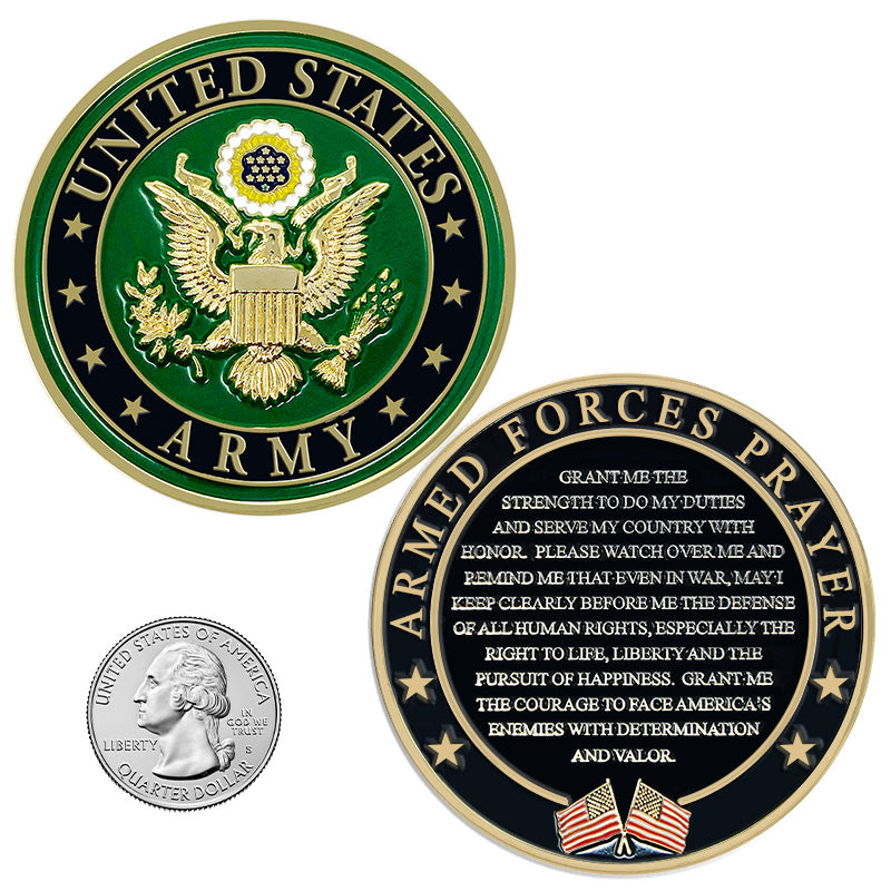 US Army Prayer Coin - Army Valor Challenge Coin