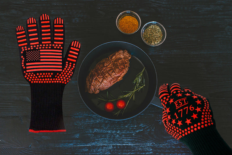 Non Slip BBQ Oven Gloves with Pan