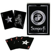 USMC Black & Silver Foil Metallic Marine Corps Playing Cards