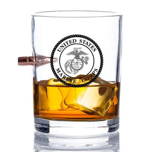 Marine Corps Rocks Drinking Glass with Bullet In Side