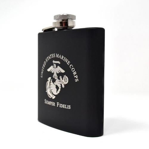 Laser Etched USMC Flask