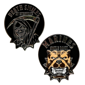 Death Smiles Coin, Death Smiles at everyone Marines smiles back, challenge coin, USMC, Marine Corps Challenge Coins, Semper Fi, Marine Corps