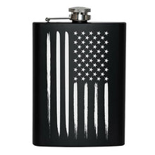 8 oz Matte Black US Flag Hip Flask