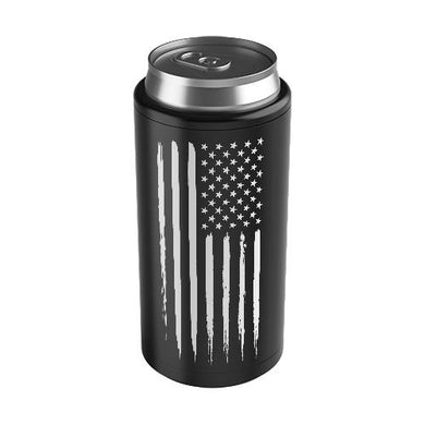 US Flag Thin Can Cooler Black, American Flag Koozie