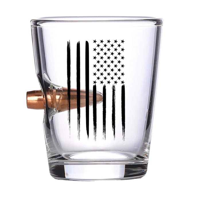 American Flag Bullet Shot Glass – Real .308 Solid Copper Bullet