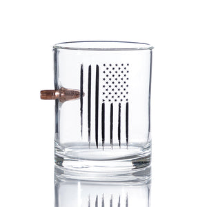 Bullet Whiskey Glasses American Flag .308 Whiskey Glass