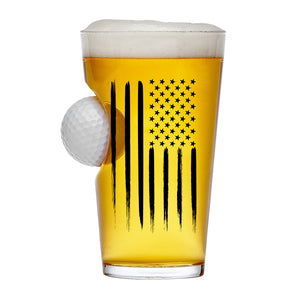 BLOWOUT SALE - OVER 70% Off American Flag Golf Ball Glass Real Golf Ball 16 Oz Beer Glass