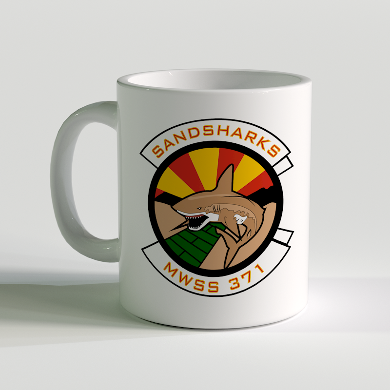 MWSS-371 unit coffee mug, USMC Sandsharks