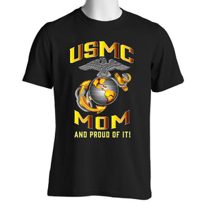 Proud USMC Mom Black Shirt
