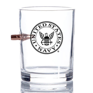 US Navy Bullet Whiskey Glass – .308 Bullet - Navy Rocks Glass - Sailor Gifts, US Navy whiskey glass