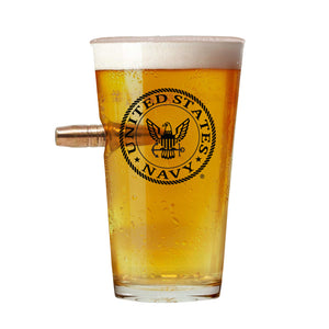 Navy Unique Bullet Beer Glass – Real .50 Caliber Bullet Design 16 Oz.