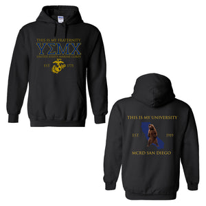 Marine Corps USMC Fraternity Hoodie-Parris Island or MCRD San Diego