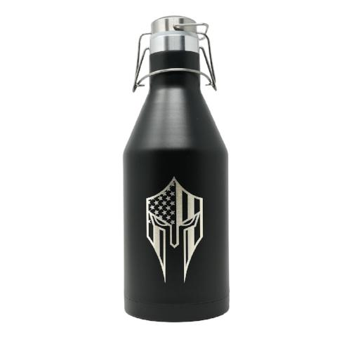 64 oz Spartan Black Double Wall Vacuum Insulated Stainless Steel Growler