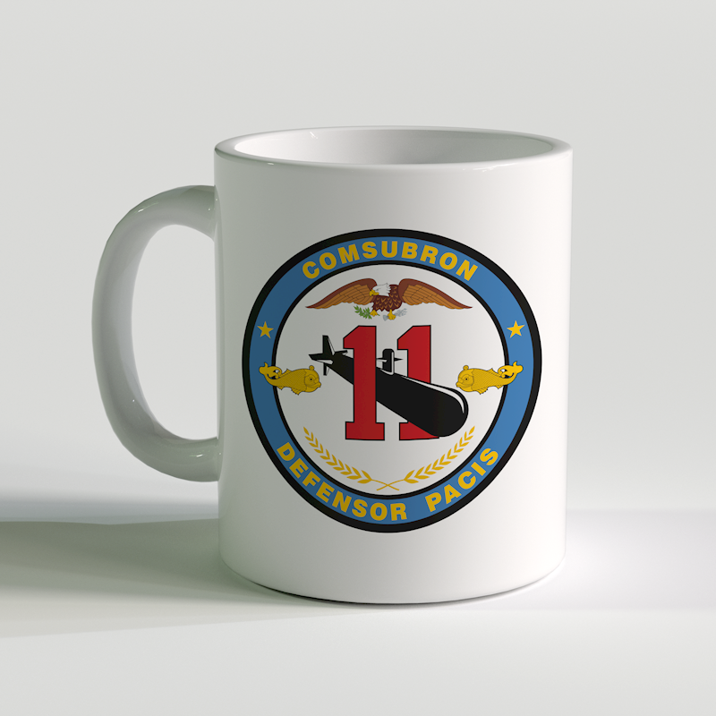 Submarine Squadron 11 Coffee Mug, US Navy Sub Squad 11, COMSUBRON, Defensor Pacis