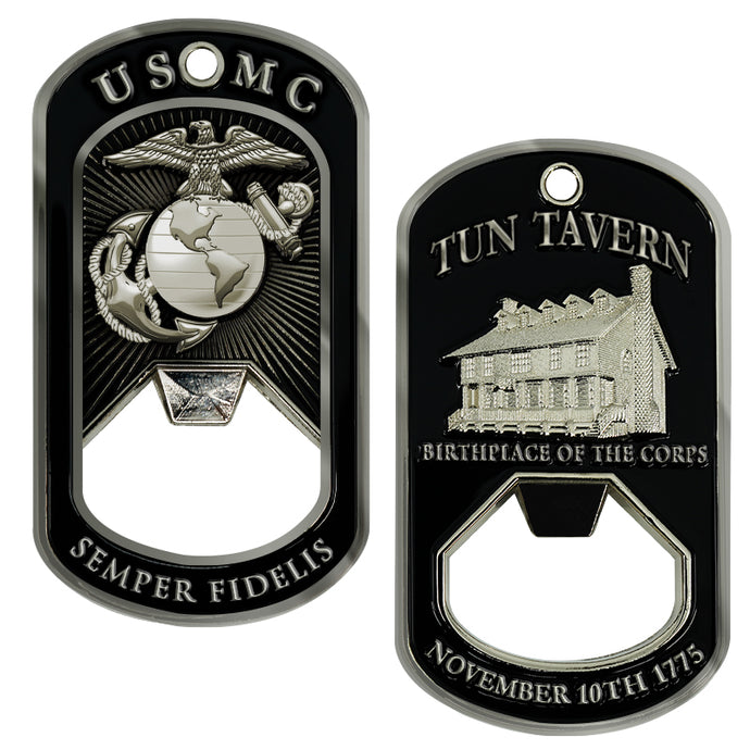 USMC Tun Tavern Dog Tag Bottle Opener- Marine Corps Birthday Challenge Coin