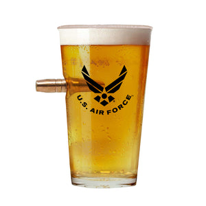 Air Force Bullet Unique Beer Glass – Real .50 Caliber Bullet Design 16 Oz., Air Force Bullet Glass