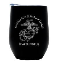USMC Vacuum Insulated Wine Tumbler with Lid, Stainless Steel 12oz