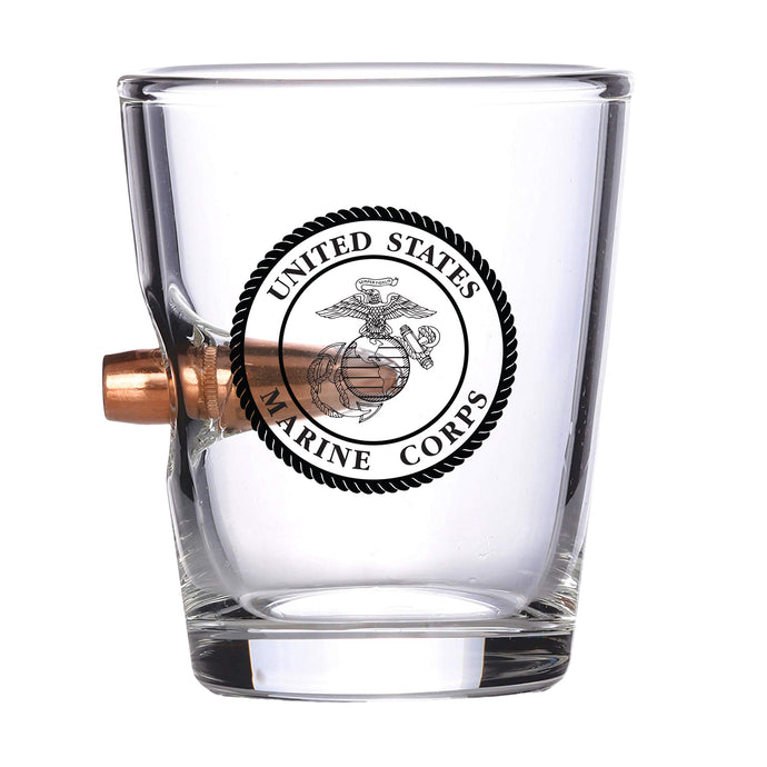 USMC Bullet Shot Glass – Real .308 Solid Copper Bullet