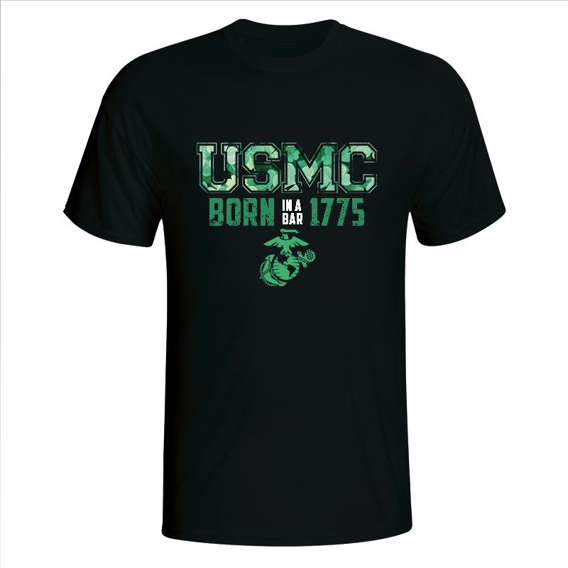 USMC Born In A Bar 1775 Green EGA on Black T-Shirt