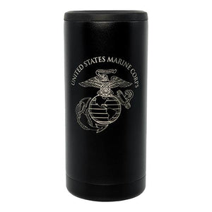 USMC Skinny Thin Black Can Cooler