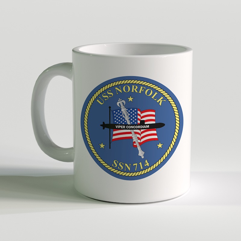 USS Norfolk Coffee Mug, USS Norfolk SSN 714, USN SSN 714