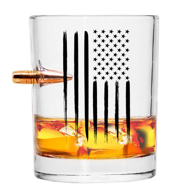 Scotch Glass with Bullet American Flag Bullet Whiskey Glass