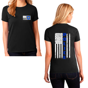 Ladie's Police T-Shirt - First Responder Shirt for Women, Thin blue line shirt for women, back the blue, back the badge, Police apparel for women, ladie's police t-shirt
