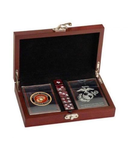 Marine Corps Playing Cards with Marine Corps Dice Gift Set