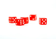 Red Square Transparent Dice - 1 Set of 5 19mm Dice for Games - 5 Dice Total