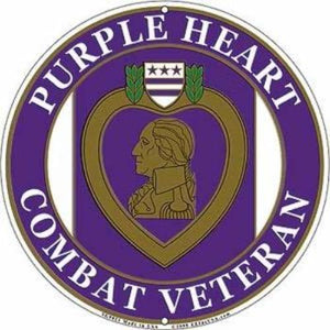 12 Inch Purple Heart Embossed Metal Sign