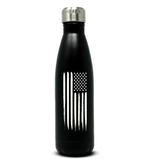 Silver-Laser Engraved American Flag Water Bottle