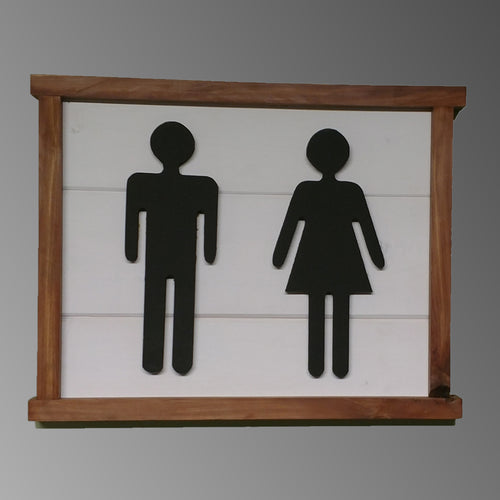 Bathroom People Man and Women sign 3d small Distressed Framed Wood Sign Cabin Art