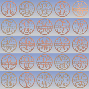 "Monogram Sign for Doors, Walls & Wedding Decor - 23"" Circle Design"