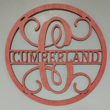 "Load image into Gallery viewer, Monogram Sign for Doors, Walls & Wedding Decor - 23"" Circle Design"