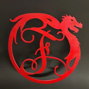 Circular Dragon Monogram Door or Wall Sign