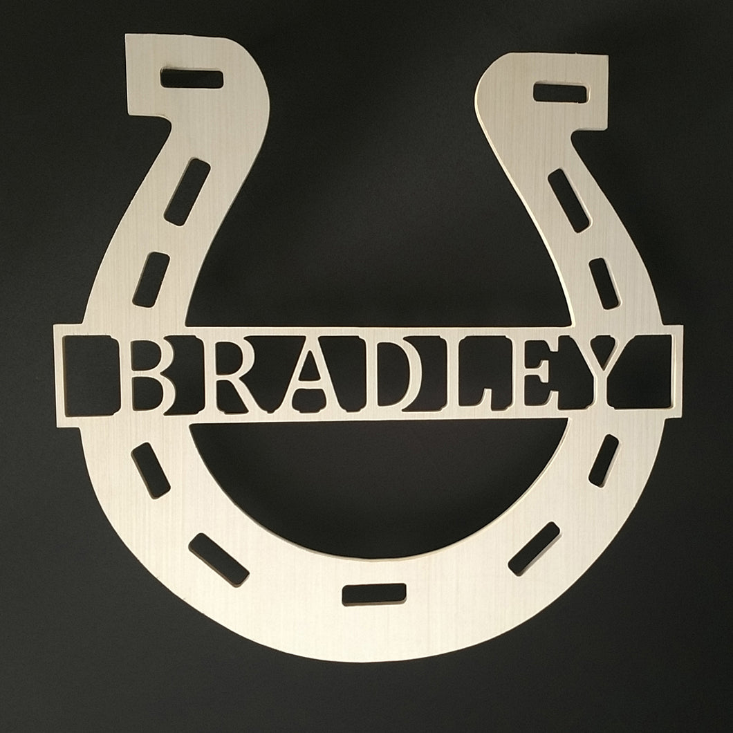 Horseshoe Name sign for Front Door or Wall