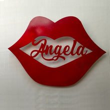 Load image into Gallery viewer, Lips with Name personalized cutout wall sign for Valentine's Day