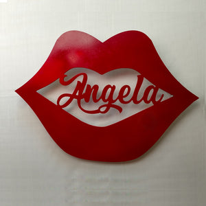 Lips with Name personalized cutout wall sign for Valentine's Day