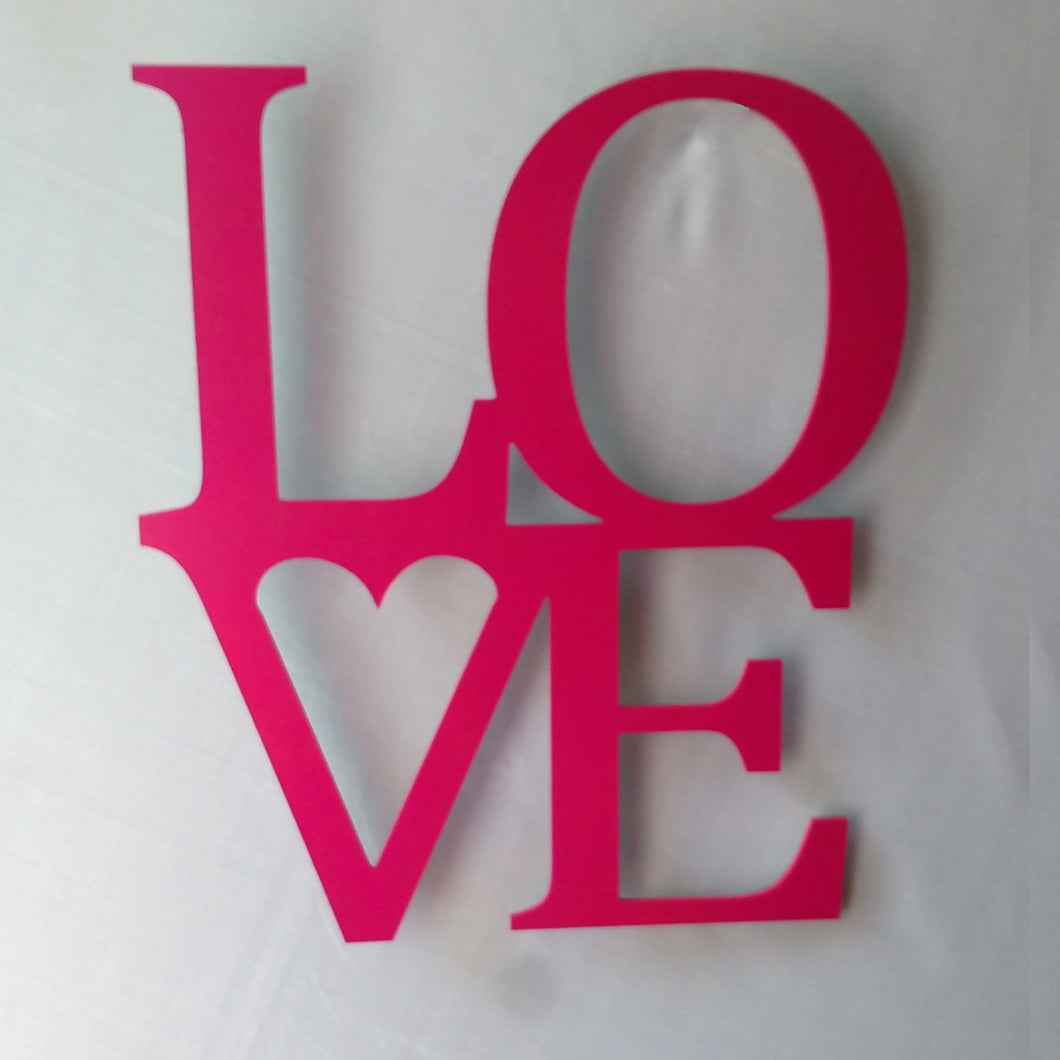 LOVE cutout wall sign for Valentine's Day