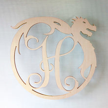 Load image into Gallery viewer, Circular Dragon Monogram Door or Wall Sign