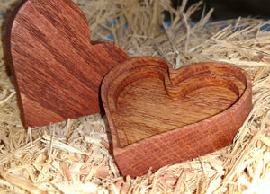 Heart shaped wooden box - stained red - Valentine's day