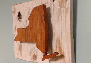 New York State Silhouette - Recycled Wood Wall Hanging - Farm house decor