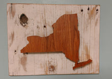 Load image into Gallery viewer, New York State Silhouette - Recycled Wood Wall Hanging - Farm house decor