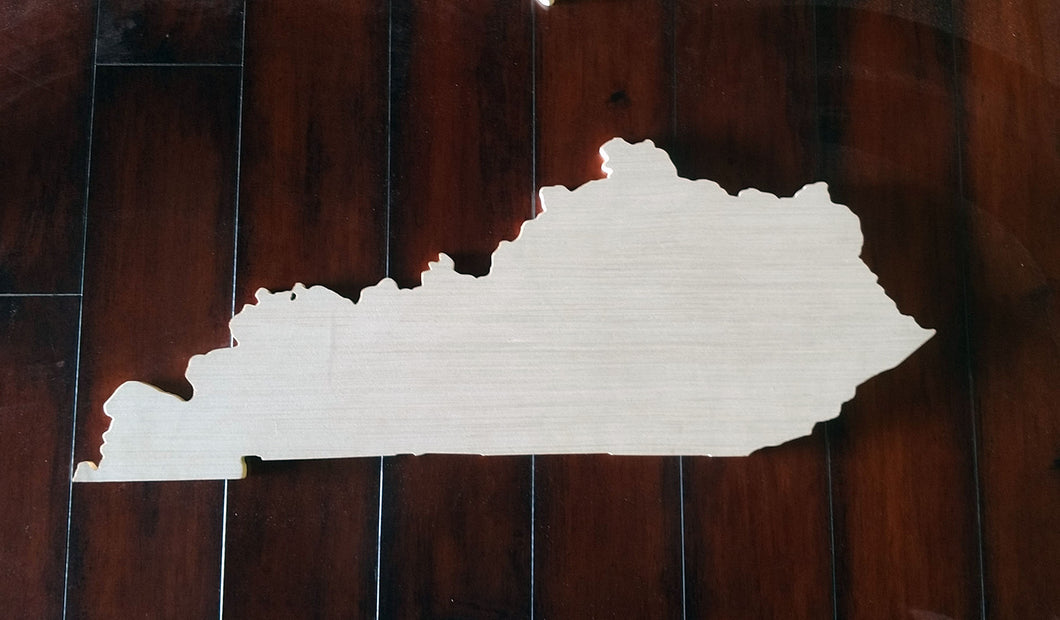 Unpainted/unstained wooden State Cutout